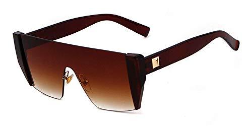 D Corte Gafas de Mujeres cuadradas de Gafas de KOMNY Sol gradiente Sol Gris cristalino Montura D para sin Marrón Gafas Marca Hombre 1xU5np