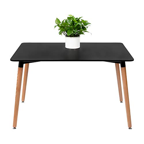 Furmax Kitchen Dining Table Modern Style Square Leisure Coffee Table,Office Coference Desk with Wood Legs for Kitchen Living Room (Black)