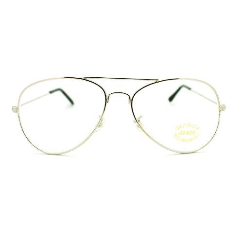 476881276b Amazon.com  Clear Lens Glasses Unisex Thin Metal Aviator Eyeglasses Frame  Black  Clothing