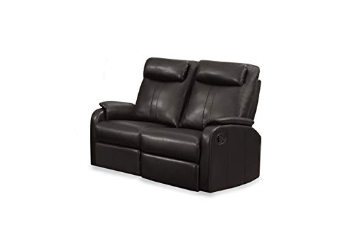 Monarch Specialties I I 81BR-2 Brown Bonded Leather Reclining Love Seat,