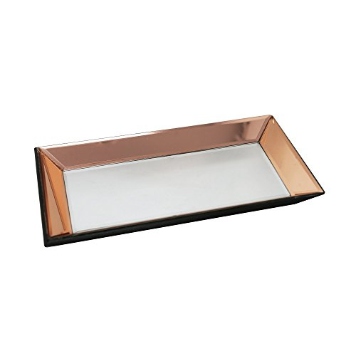 Copper Oval Serving Tray - Sagebrook Home 12291 Mirrored Tray, Copper/Silver Wood/Glass, 13.25 x 7.25 x 1.5 Inches