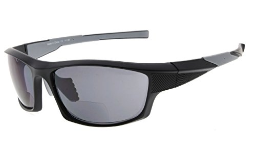 Eyekepper TR90 Sports Bifocal Sunglasses Baseball Running Fishing Driving Golf Softball Hiking Readers (Black Frame Grey Temple, +2.50) Black Temple Frame