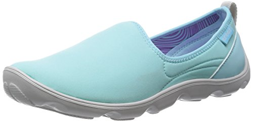 crocs Women's Duet Busy Day Shoe,Ice Blue/Pearl White,9 M (Croc Tab)