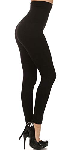 NO More Muffin TOP! High Waisted Tummy Control Leggings - Compression Top - Slimming Leggings - Fleece & Non Fleece Leggings - Contours Waistline (Non French Terry, Black)