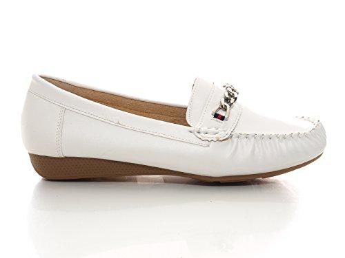 Damen Mokassins Weiß # 184 T17iVB