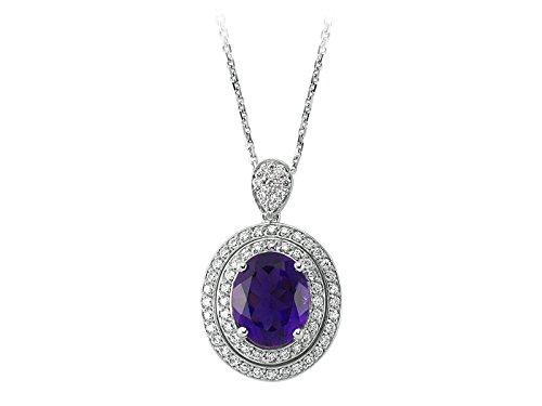 Pendentif Améthyste Ovale et Diamants-Femme- or Blanc 204P0062