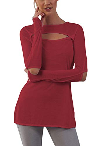 Mippo Women's Casual Solid T-Shirt Batwing Long Sleeve Tunic Tops Round Neck Loose Comfy with Keyhole for Women Wine Red L