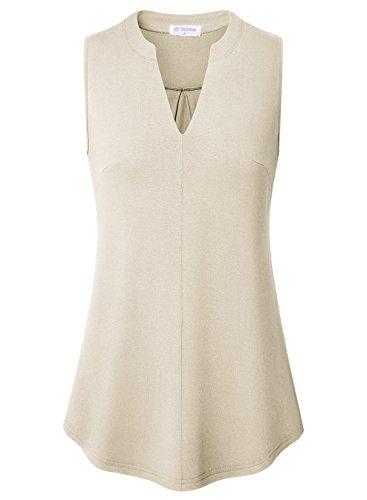 (Bulotus Sleeveless Women Tops Shirts V Neck Loose Casual Layering Tunic Tanks Beige L)