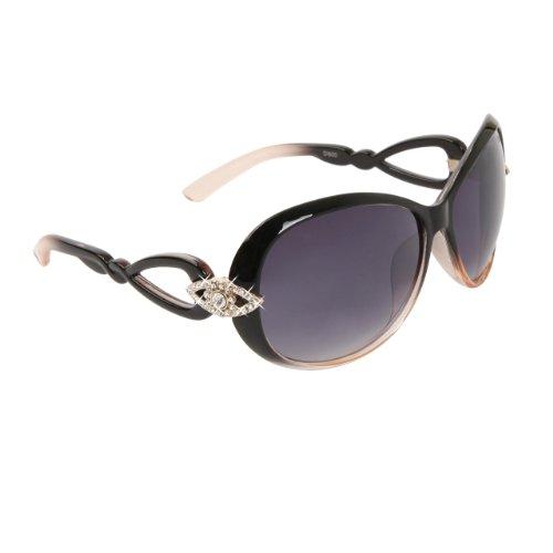 DIAMOND EYEWEAR NEW RHINESTONE SUNGLASSES UNIQUE COLORS - DUOTONE GLOSS BLACK & BEIGE - Wholesale Unique Sunglasses