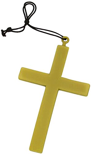 Plastic Religious Gold Cross Costume Necklace