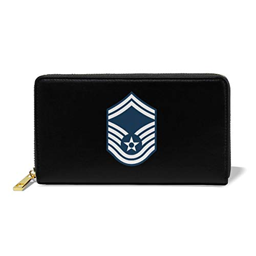 Leather Wallet For Women Clutch Air Force Master Sergeant 1st SGT Diamond Rank