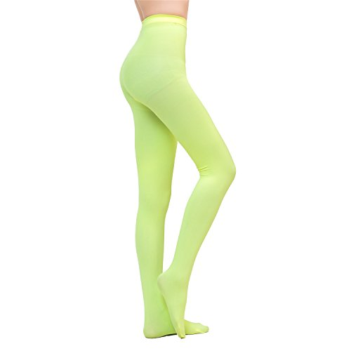 Prefer Green Women's Plus Size Semi Opaque 80 Denier Velvet Footed Pantyhose Candy Color Tights (Yellow, Large)