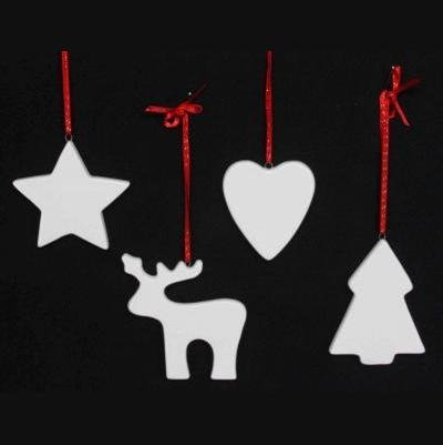 Ceramic Christmas Tree Decorations.Set Of 4 White Ceramic Christmas Tree Decorations Tree
