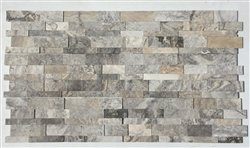 (SILVER Travertine Honed Stacked 3D Ledger Wall Panel 7 in. x 20 in. Natural Stone Tile - 50 pcs / 50)