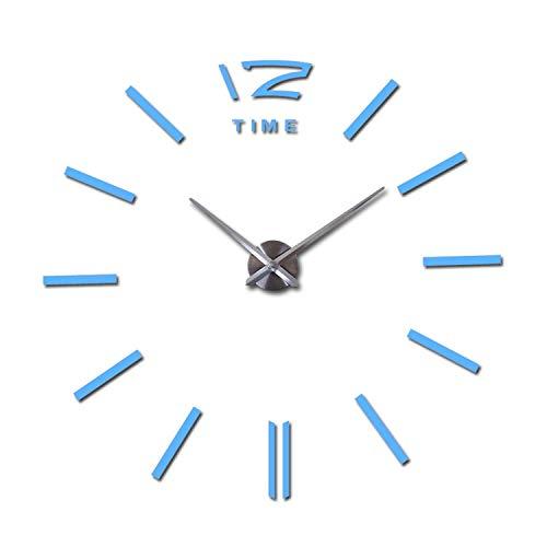 Wall Clock Living Room New Acrylic Watch 3D Clocks reloj de pared Home Decoration Metal Wall Sticker,Sky Blue,47inch