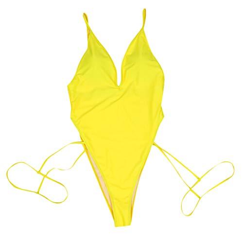 e740d7bb1d Copercn Women's Sexy Bright Color One Piece Deep V-Neck Strappy Monokini  Swimsuit Leg Sling
