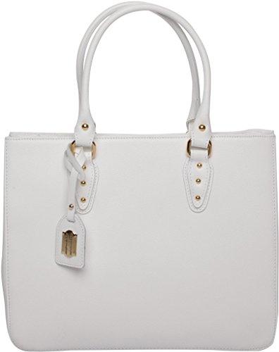 Josephine Osthoff Handtaschen-Manufaktur Baltimore - weiß -, Borsa a tracolla donna Bianco bianco 33 cm breit, 27 cm hoch, 6/13 cm tief