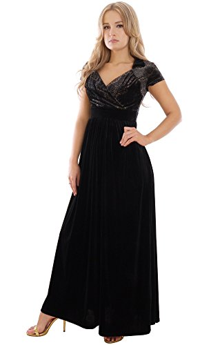 Elegantes Abendkleid Party Maxikleid Schwarz Theater Konzertkleid Empire Stil von MontyQ L17(2) DE 38/40 4BerI0