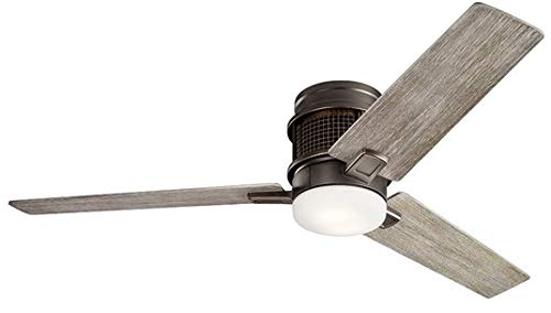 Kichler 300352OZ Chiara 52 Hugger Ceiling Fan with LED Lights and Wall Control, Olde Bronze