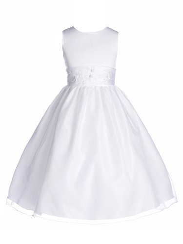 Girls Tip Top New Simple Beaded Satin And Organza Girl Dress, White, 12 (TT6036) (Kids Dresses Tip Top)