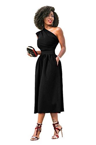 YOUJIA Damen One Shoulder Cocktailkleid Abendkleid Partykleid Midi ...