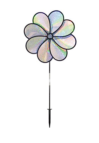 In the Breeze Silver Sparkle 8-Petal Flower Spinner, 14-Inch ()