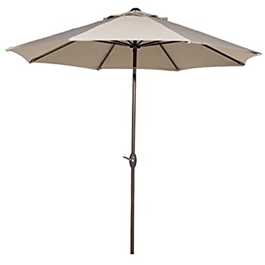 Abba Patio 9 Ft Outdoor Table Aluminum Patio Umbrella with Auto Tilt and Crank, Alu. 8 Ribs, Beige