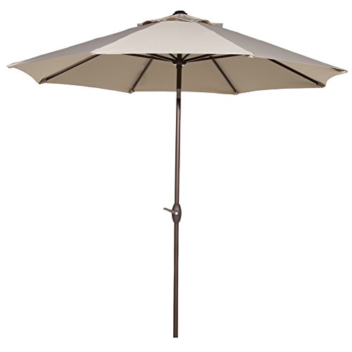 Abba Patio Sunbrella Patio 9 Feet Outdoor Market Table Umbrella with Auto Tilt and Crank, Canvas Antique Beige