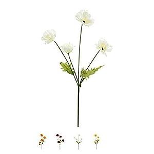 MARJON FlowersWild Meadow Poppy Spray Silk Flower Stem with 4 Heads Quality Artificial Flowers in a Bunch of Wild Poppies, (White,) 50