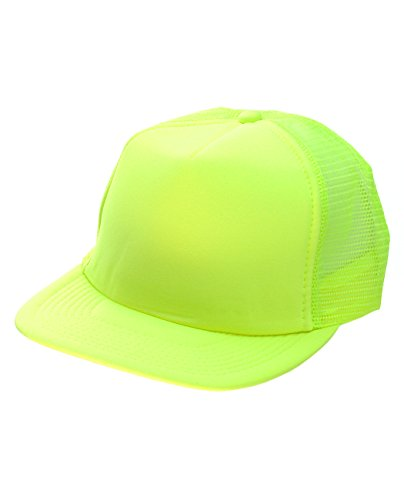 Mesh Adjustable Trucker Cap (NYFASHION101 Blank Mesh Adjustable Snapback Cotton 6-Panel Trucker Hat Cap, Neon Yellow)