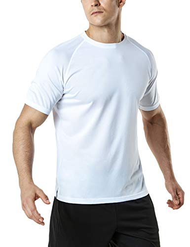 (TSLA Men's HyperDri Short Sleeve T-Shirt Athletic Cool Running Top MTS Series, Athletic Short Sleeve(mts30) - White, Large)