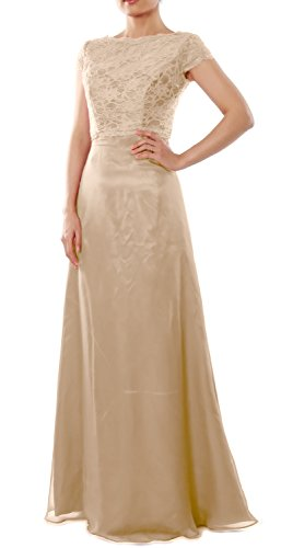 Jacket Elegant Long Dress Wedding Champagner Sleeve Gown Party Bridesmaid Cap with MACloth BAn4qdWHvv