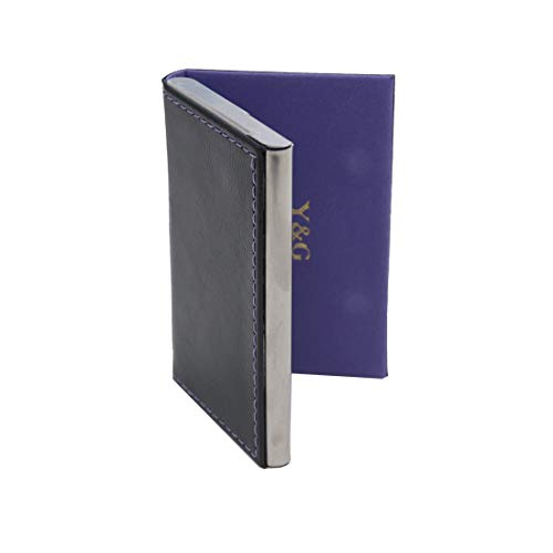 Y&G C.A.U.E.023 Black Purple Synthetic Leather Stainless Steel Certificate Smart ID Card Holder ()