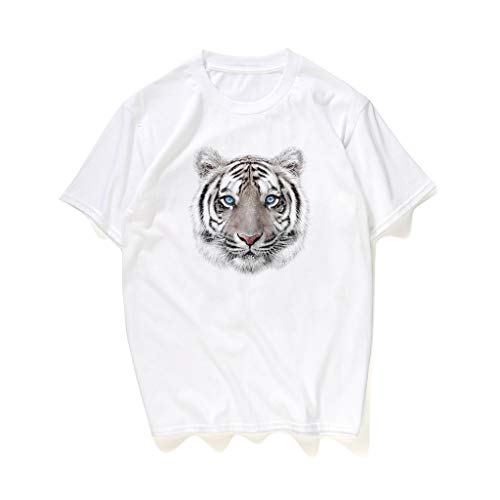 (XQXCL Unisex Fashion 3D Tiger Print Animal Short Sleeve Round Neck T-Shirt Graphic Tees White)