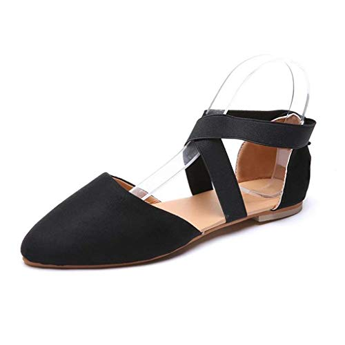 WKDYBD Women Summer Sandals Closed Pointed Toe Buckled Strap Ballet Flat Ankle Strap Shoes Black