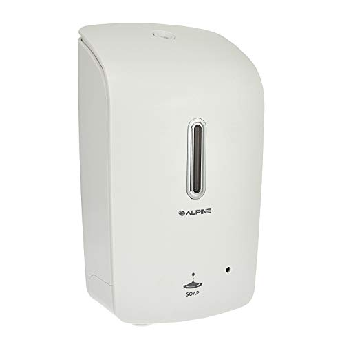 Alpine Wall Mountable, Touchless, Universal Liquid Soap Dispenser for Offices, Schools, Warehouses, Food Service Facilities, and Manufacturing Plants - White
