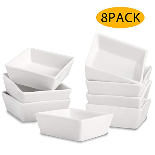 4 Oz Porcelain Ramekins Bowls,WERTIOO Square Bakeware Bowl Set Baking and Cooking,Oven Safe for Pudding, Creme Brulee, Custard Cups and Souffle Sleek Porcelain White Ramikins, Small Ramekin ()