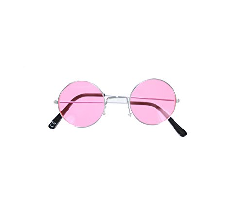 Novelty Hippie 70's Era Round Frame Sunglasses Fancy Dress Accessory-Pink - 70's Costume Sunglasses