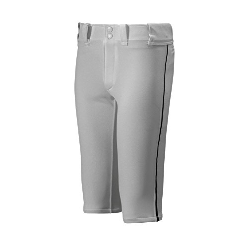 Mizuno Youth Premier Piped Short Baseball Pant, Grey-Black, Youth Medium -