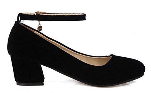 CHFSO Womens Elegant Rhinestones Solid Velvet Round Toe Buckle Ankle Strap Mid Chunky Heel Pumps Black 2VfD2