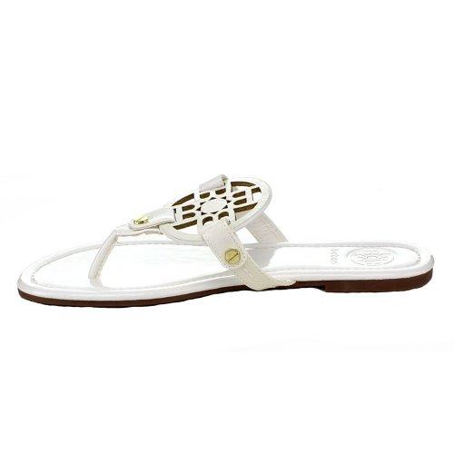 BETANI Trinity Women Gladiator Flat Flipflop T-Strap Thong Sandal W/Cutout Emblem White Patent xwfDJZGg
