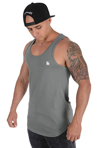 YoungLA Tank Tops for Men Workout Elongated Gym 315 Sage Large Grey