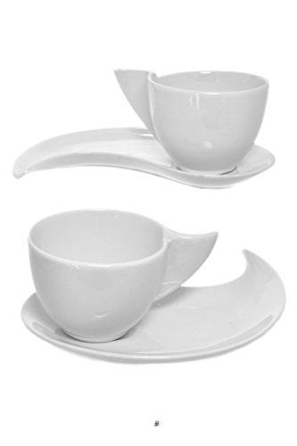 Set 2 Modern Funky White Porcelain Wave Demitasse Espresso Cups and Saucers ()