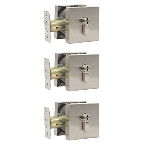 Single Cylinder Deadbolt Lock with Square Low Profile in Satin Nickel Finish, Simple&Modern Design, Keyed on One Side, Exterior/Interior Door Locks, 3 Pack