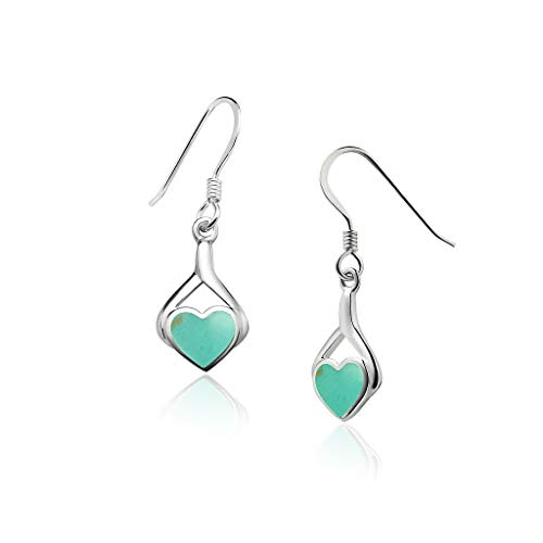Big Apple Hoops - Genuine 925 Sterling Silver ''Heart of Love'' Cute & Comfort Simulated Turquoise Inlay Dangle Hook Earrings | Dainty, Delicate and Perfect Design