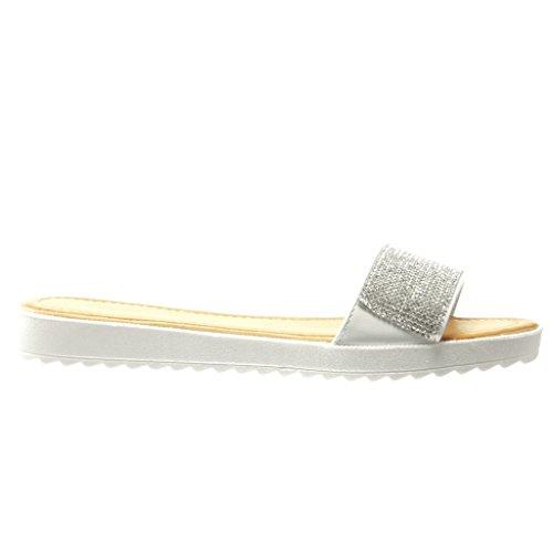 Angkorly - Zapatillas de Moda Sandalias mujer strass Talón tacón plano 2 CM - Blanco