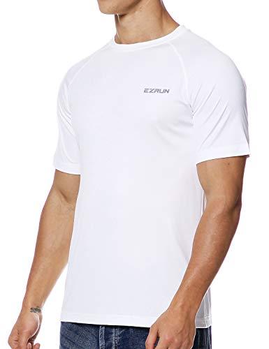 EZRUN Men's UPF 50+ UV Sun Protection Outdoor Running Fishing Shirts for Men(Short-White,XL) (Billboard Tshirt)
