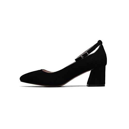 AJUNR Moda/elegante/Transpirable/Sandalias Solo zapatos simples consejos ranurado y el salvaje negro de 6cm y zapatos 36 35