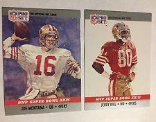 Joe Montana/Jerry Rice 1990 Pro Set Super Bowl MVP's 2 Card Set (Cards 23,24) (Joe Montana Football Trading Card)
