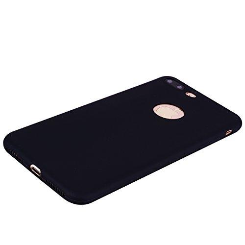 iPhone 7 Plus Custodia , Leiai Moda Nero Peso Leggero Soft Silicone Morbido TPU Cover Case Shell Custodia per Apple iPhone 7 Plus